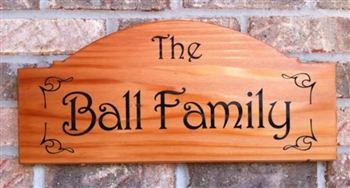 Personalized Cedar Name Plaque With Engraved Lettering